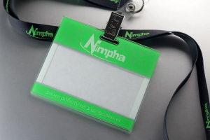 """Бейдж логотипом на ленте """"Nimpha"""""""